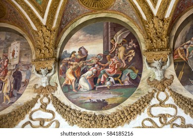 MANTUA, ITALY - MAY 2, 2016:  Palazzo Te in Mantua.The palace, built in the mannerist architectural style 1524-1534 for Federico II Gonzaga, Marquess of Mantua. Italy