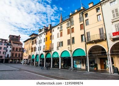 MANTUA, ITALY, MAY 23, 2017: View of Piazza delle Erbe, Mantua, Lombardy, Italy