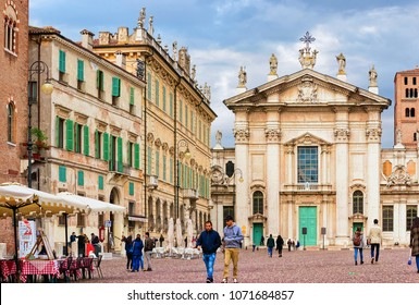 Mantua, Italy - October 22, 2016: People at Church of Sant Andrea in Piazza Mantegna Square in Mantua, Lombardy, Italy