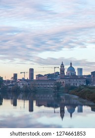MANTUA, ITALY, SEP 21, 2017: Panoramic view of the medieval historic city of Mantua in Lombardy, Italy