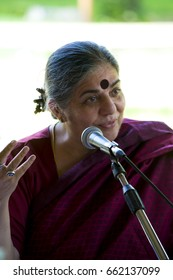 Mantua, Italy - September 7, 2013. Famous indian activist and environmentalist Vandana Shiva participates to an event at the local literature's festival