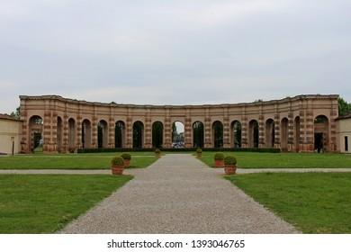 Mantua, Lombardy, Italy - April 14, 2019: the garden inside Palazzo Te in Mantua