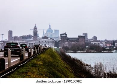 Mantua (Mantova), Lombardy, Italy - December 2018, Panorama of Mantua