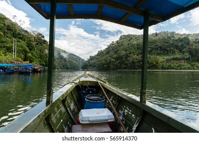 MANU NATIONAL- PARK, PERU, SOUTH AMERICA, 2015, AUGUST 8 / Boat on the Rio Madre de Dios