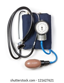Manual aneroid sphygmomanometer with stethoscope on white background