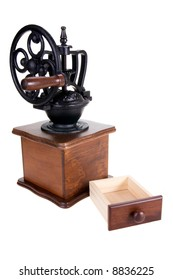 The manual coffee grinder with box on a white background
