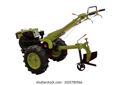 Manual cultivator. Motoblock. Motor-cultivator. Isolated on white.
