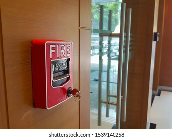 Manual fire alarm exit door safety system.