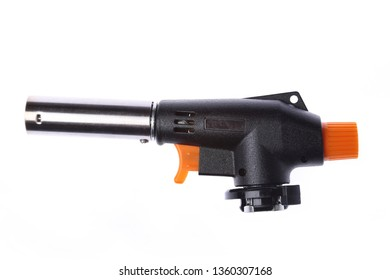 Manual gas torch burner, flame gun blow torch for camping, soldering or repair isolated on white background.