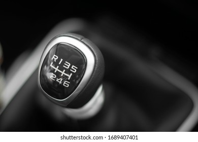 Manual gear shift lever car 6 forward gears and 1 reverse gear close up