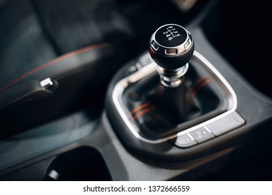 Manual gearbox handle inside the modern car