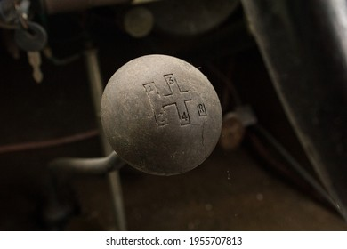 Manual gearbox handle in the old car. Manual gear shifter