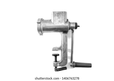 manual meat grinder isolated on white background