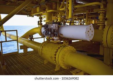 Manual operate ball valve at offshore oil and gas central processing platform, manual valve. Shut down valve.