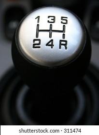 A manual shift car gear lever