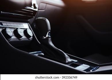 A manual shift of modern car gear shifter