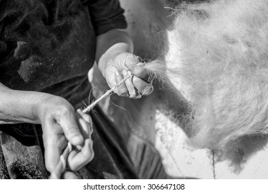 Manual spinning of linen fibers in black and white