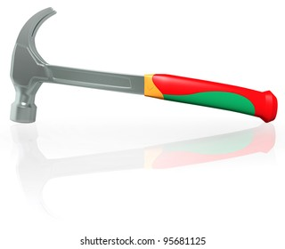 The manual tool - a steel hammer with the plastic handle