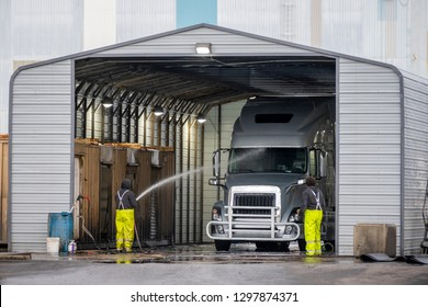 Manual washing station for large semi trucks with trailers located in a specially equipped industrial building to ensure the sanitary - technical norms of the movement of commercial vehicles