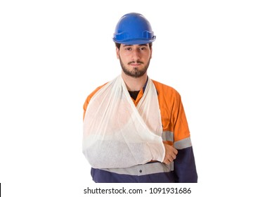 A manual worker with an arm injury, wearing a sling.