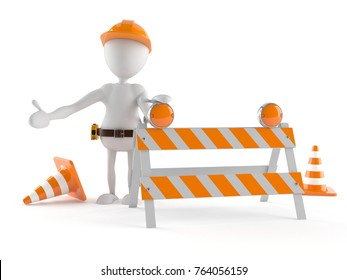 Manual worker with boundary isolated on white background. 3d illustration