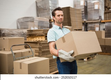 Manual worker carrying box in the warehouse
