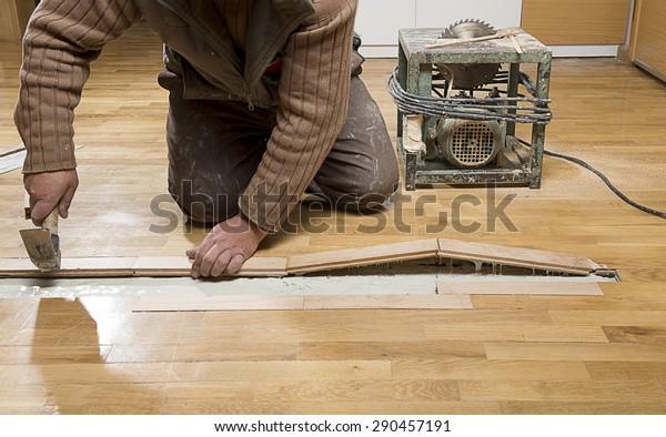 Manual Worker Fixing Wooden Floor Ruined Stock Photo Edit Now