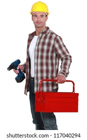Manual worker holding drill and tool-box