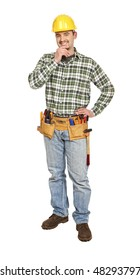 manual worker portrait isolated on white background