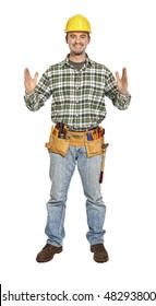 manual worker in showing pose isolated on white