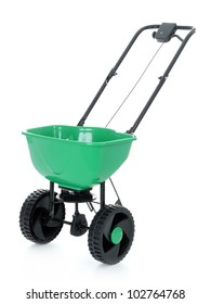 Manually operated seeder shot on white