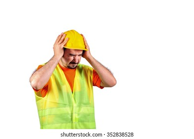 Manuel worker protecting himself from noisy environment isolated on white background