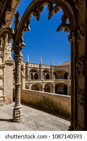 Manueline cloister of Jerónimos monastery in Lisbon, Portugal. Classified as UNESCO World Heritage it stands as a masterpiece of the Manueline art.