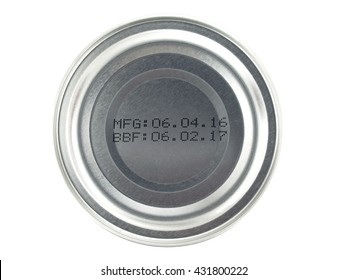 manufacture date and expiry date printed on the bottom of aluminum cans isolated on white background, Information of product for consumer, close up top view