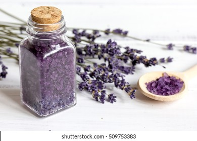 manufacture of homemade cosmetics with lavander close up
