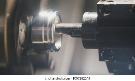 Manufacture of metal detail on the machine at the factory