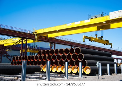 Manufacture of steel pipes for the subsea gas pipeline in the factory