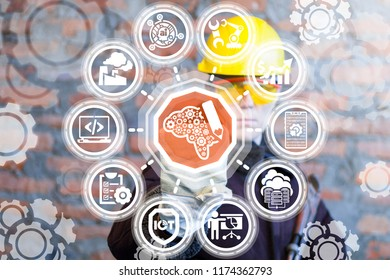 Manufacture worker clicks a brain with pencil button on a virtual panel. Smart Industrial Development Information Technology. Learning Integration manufacturing concept. Designing and Construction.