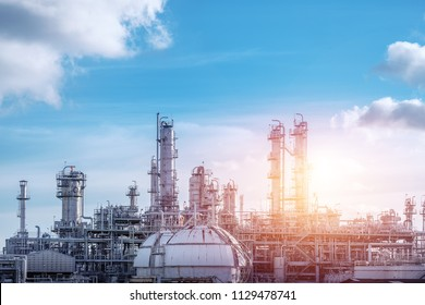 Manufacturing of petrochemical industrial or Oil and gas refinery plant with sunset sky