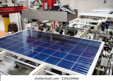 Manufacturing of solar panel system in factory.Industry concept.