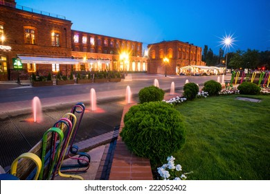 Manufaktura - the biggest shopping center in Europe. Shopping mall at night. July 2014