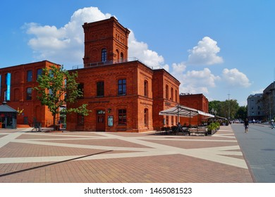 MANUFAKTURA , LODZ, POLAND, JULY 29 2019 :Inner square of Manufaktura, an arts centre, shopping mall, and leisure complex in Lodz.