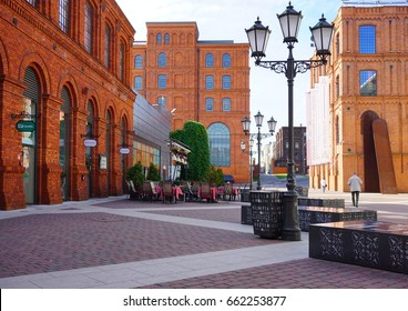 MANUFAKTURA, LODZ, POLAND, JUNE 09 2017 :Inner square of Manufaktura, an arts centre, shopping mall, and leisure complex in Lodz, Poland