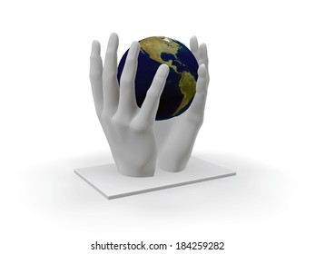 Manument art created in 3D, earth in human hands.