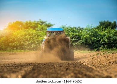 The manure spread by the manure spreader with the tractor working in the field with sunlight