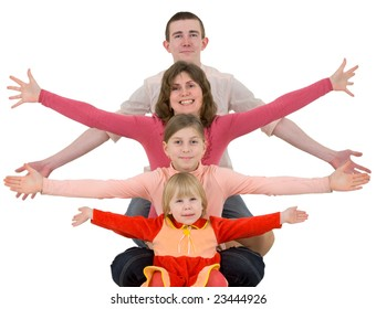 Man,woman and childs on a white background