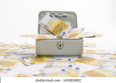 Many 200 euros of banknotes scattered over a petty cash