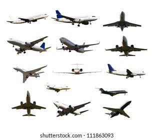 many aircraft with gear and two jet engines, isolated on white background