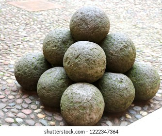 many ancient cannonball made with stone