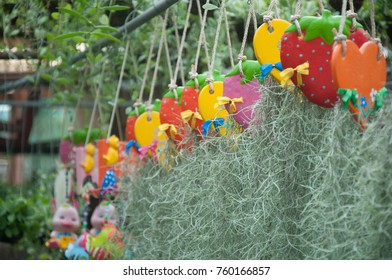 Many Animal ceramic doll hanging at flower shop